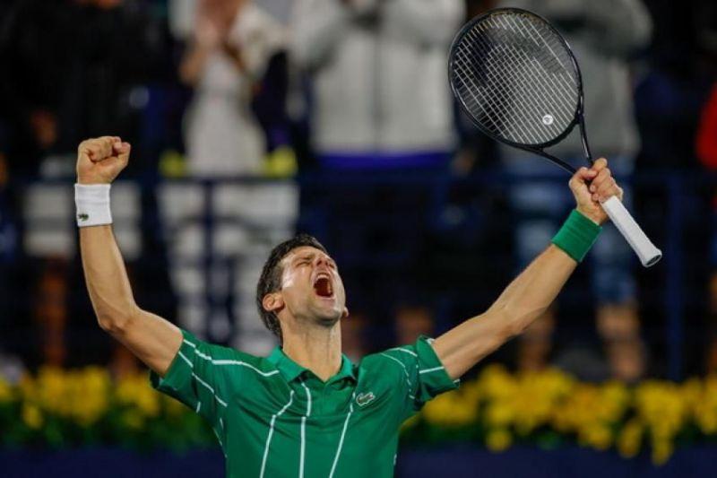 Novak Djokovic exults at the 2020 Dubai Open