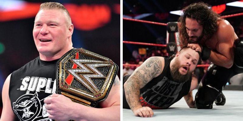 Brock Lesnar (left); Seth Rollins and Kevin Owens (right)