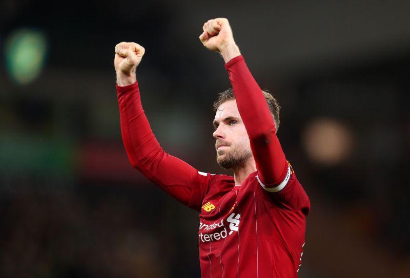 Liverpool captain, Jordan Henderson celebrating the team