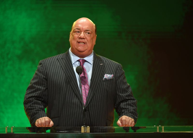 Paul Heyman delivering a promo during a live event