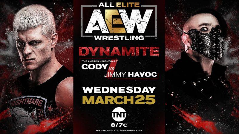 AEW Dynamite March 25: Cody vs Jimmy Havoc
