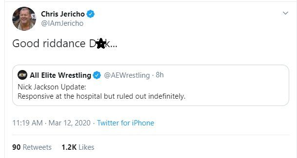 Le Champion taking shots at the fallen (Pic Source: AEW / Chris Jericho Twitter)