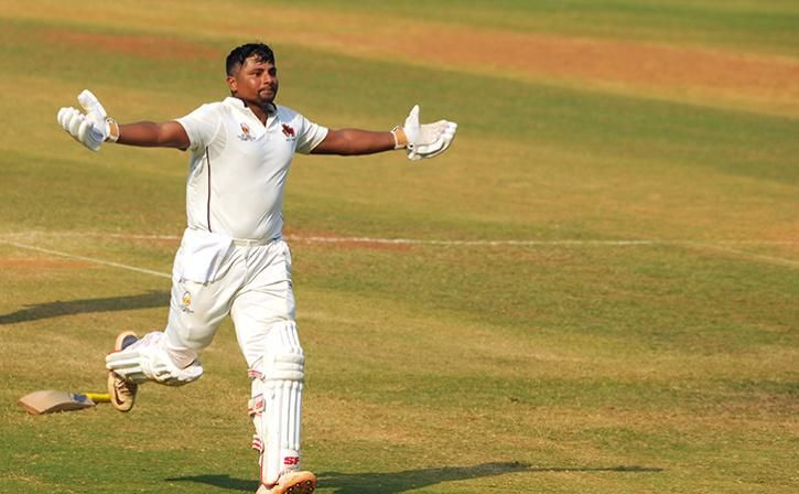 Sarfaraz Khan exults after scoring his maiden triple century
