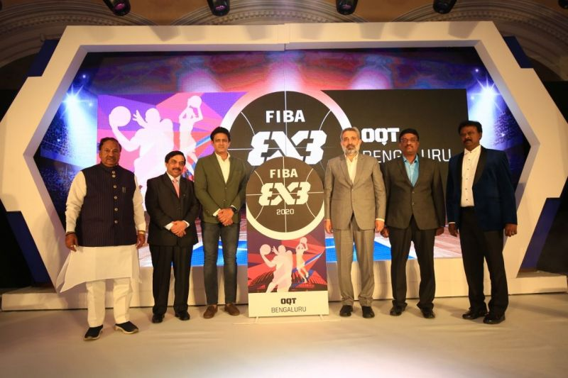 Eminent personalities during the logo launch of FIBA 3x3 Olympics Qualifier Tournament last night