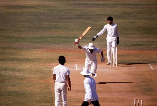 Gavaskar just after scoring 10,000 runs in Test matches