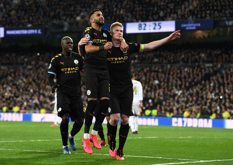 Kevin De Bruyne celebrates his goal in Manchester City