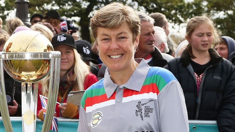 Ex-White Fern Debbie Hockley pictured with the ICC World Cup