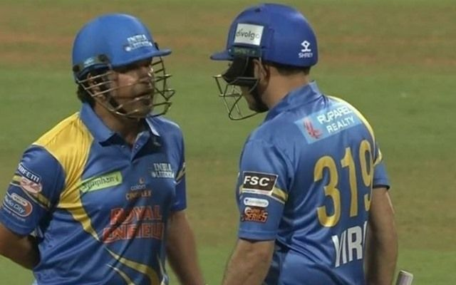 Sachin Tendulkar and Virender Sehwag in action for India Legends