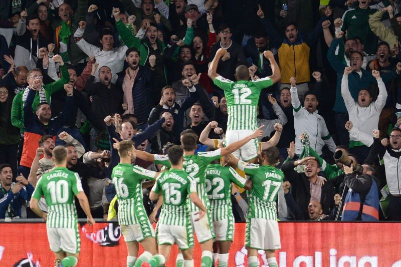 Real Betis players celebrate Sidnei