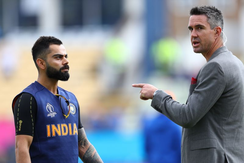 Kevin Pietersen alongside Indian captain Virat Kohli in the 2019 World Cup
