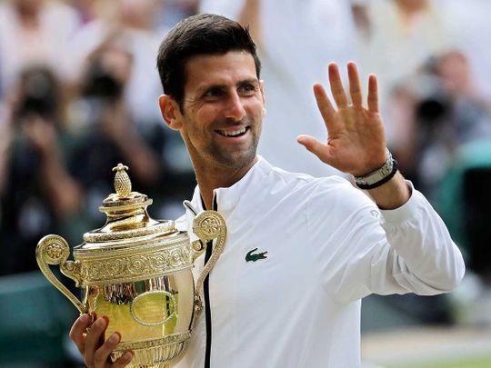 Djokovic with the Wimbeldon trophy