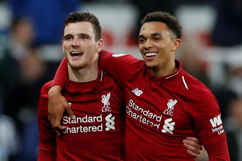 Liverpool full-backs Andy Robertson and Trent Alexander-Arnold.