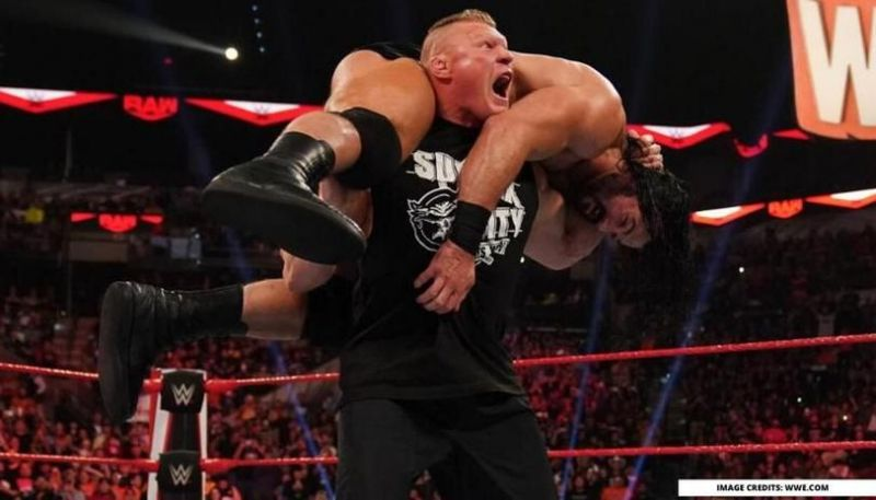 Drew McIntyre getting an F5 from Brock Lesnar