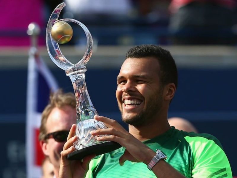 Tsonga after winning the Rogers Cup in 2014