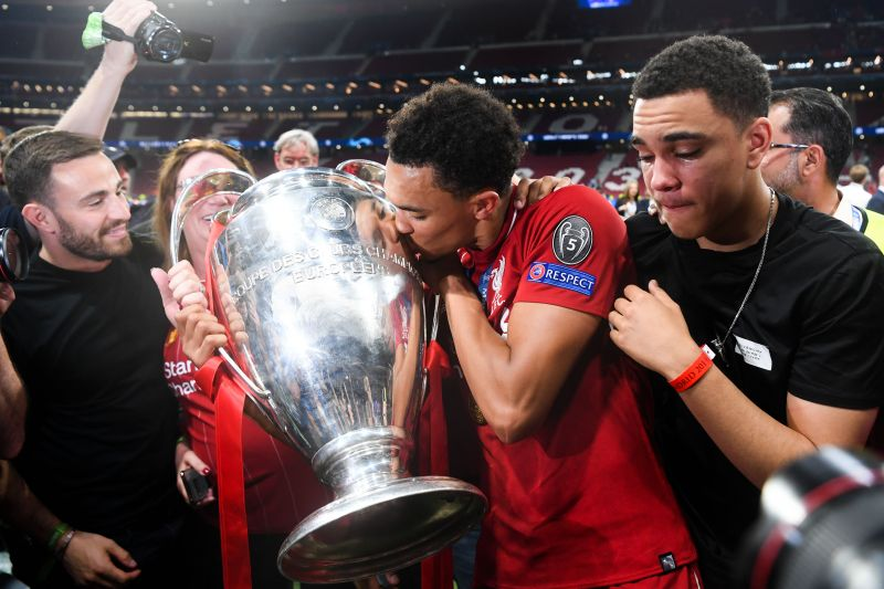 Trent Alexander-Arnold with the UEFA Champions League trophy