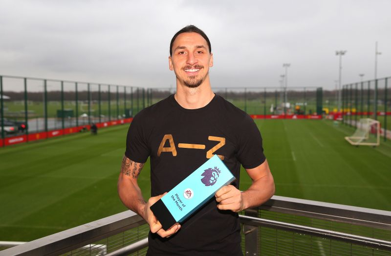 Ibrahimovic with the Premier League Player of the Month award