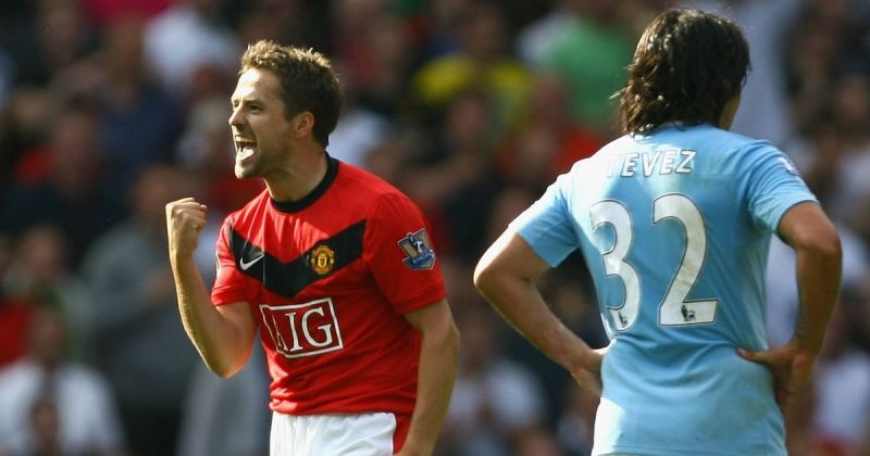 Michael Owen celebrating the last-minute winner in the pulsating 4-3 win over City in 2009