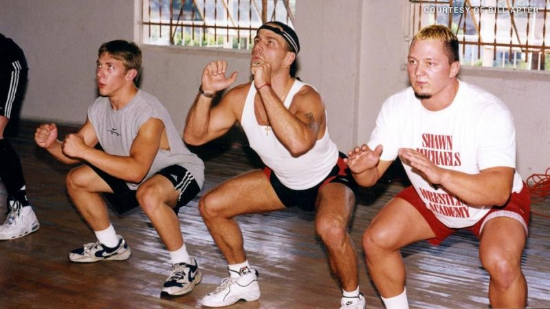 Shawn Michaels with trainees - Daniel Bryan pictured furthest left