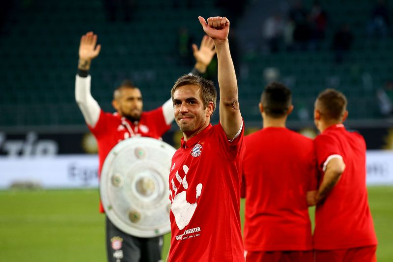 Lahm salutes supporters during yet another Bundesliga triumph
