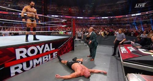 Drew McIntyre eliminated Brock Lesnar at the 2020 men