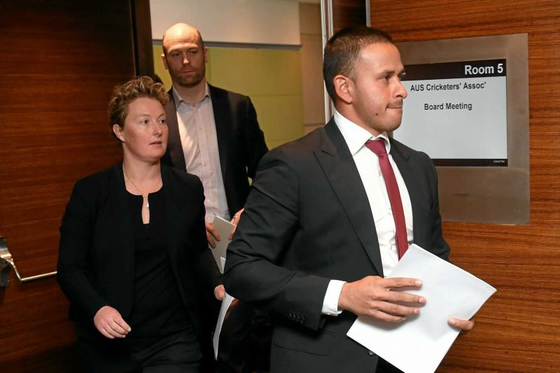 Clea Smith (L) during one of the Cricket Australia board meetings