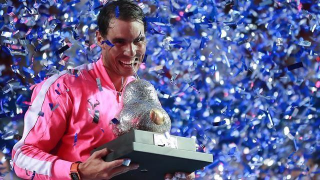 Rafael Nadal celebrates his third Acapulco title
