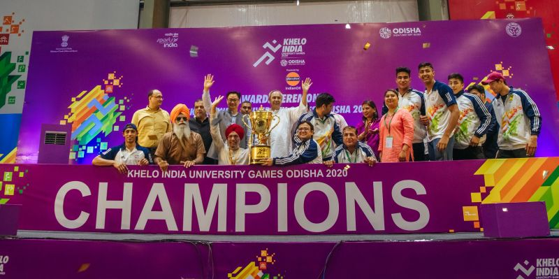 Champions of the first edition of the Khelo India University Games 2020, Panjab University posing with the trophy