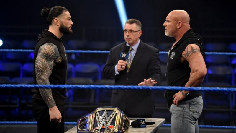 Roman Reigns and Goldberg came face-to-face tonight