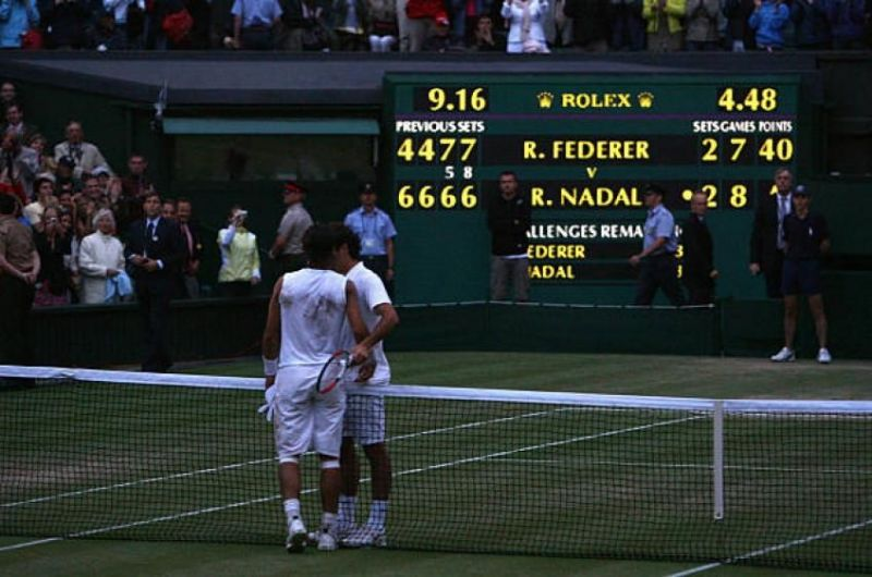 Roger Federer was denied a sixth consecutive Wimbledon title by Nadal in 2008