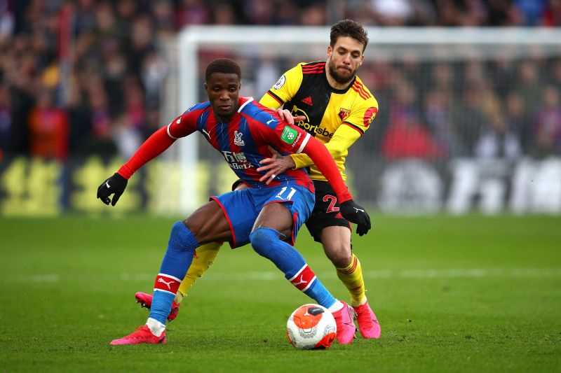 Wilfried Zaha playing against Watford FC in the Premier League