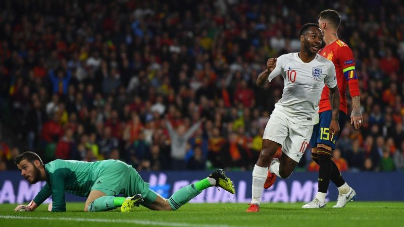 Raheem Sterling scored a memorable goal as England won in Spain in 2018 for the first time in 31 years