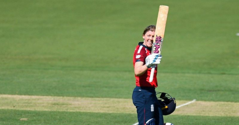 Heather Knight after reaching the century mark against Thailand
