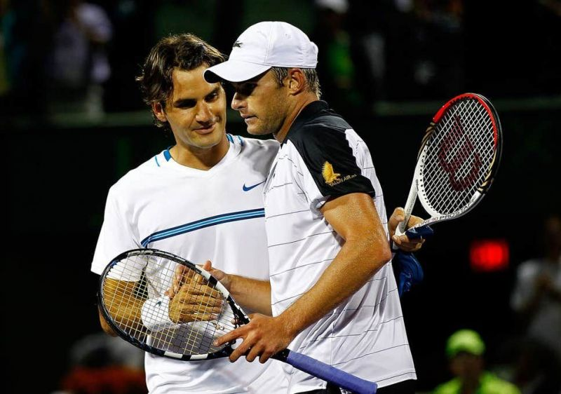 Federer and Roddick (right) met for the last time in the 2012 Miami second round