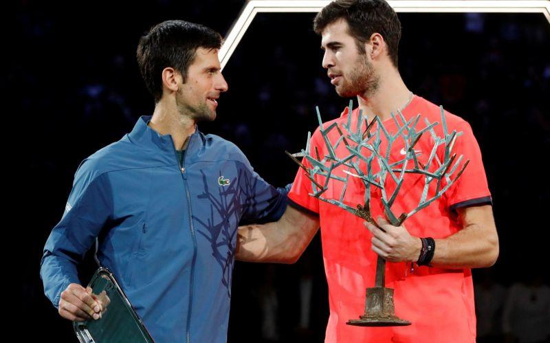 Karen Khachanov (right) beats Djokovic to win the 2018 Paris-Bercy Masters.