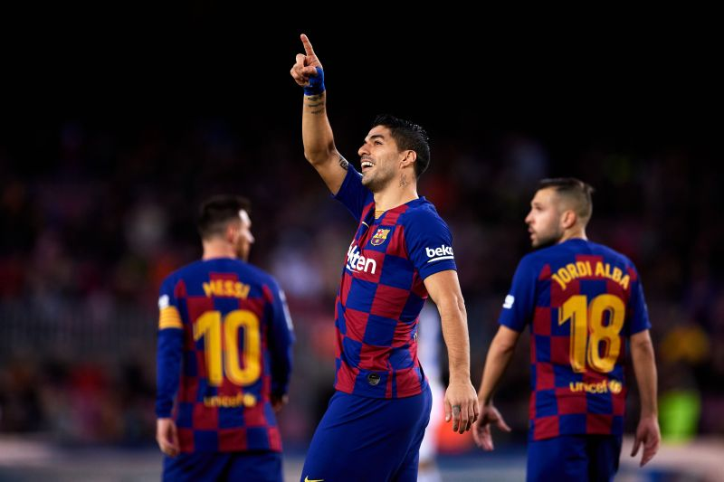 Suarez, who underwent knee surgery in early January, remains Barca