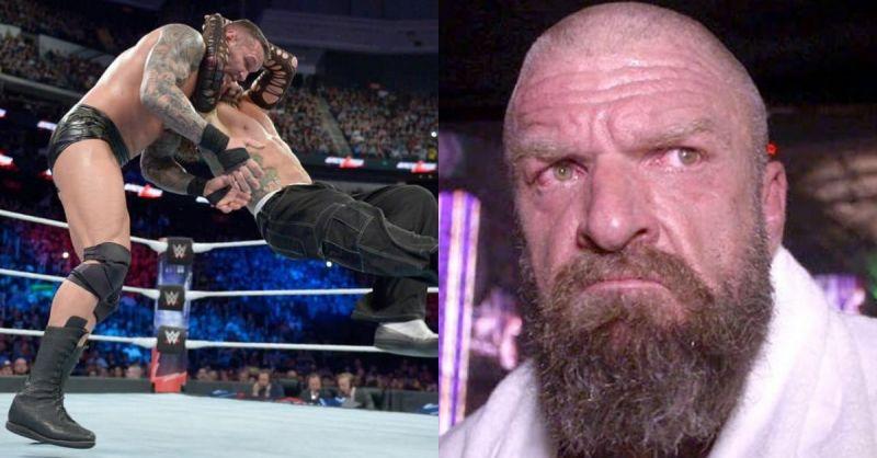 Jeff Hardy giving the Twist of Fate/Fury to Randy Orton (l), Triple H (r)