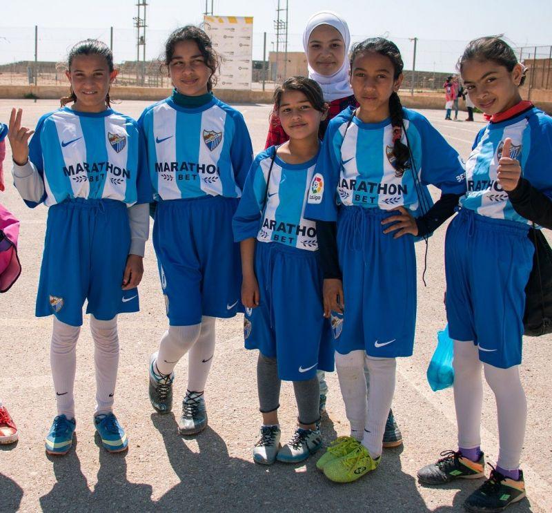 The girls and trainers of the Za'atari refugee camp