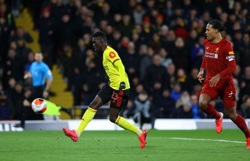 Ismaila Sarr chips the ball over Alisson to score Watford