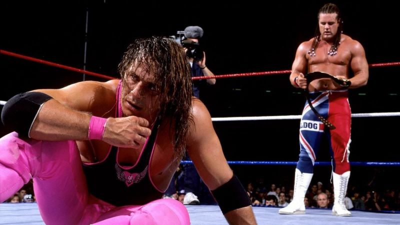 Bret Hart (left) and soon-to-be-inducted Hall of Famer, The British Bulldog