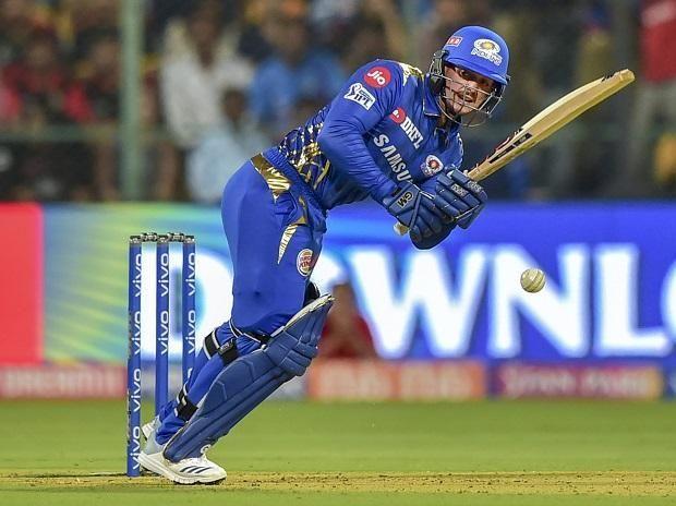 Quinton de Kock playing a wristy flick playing for Mumbai Indians in IPL 2019