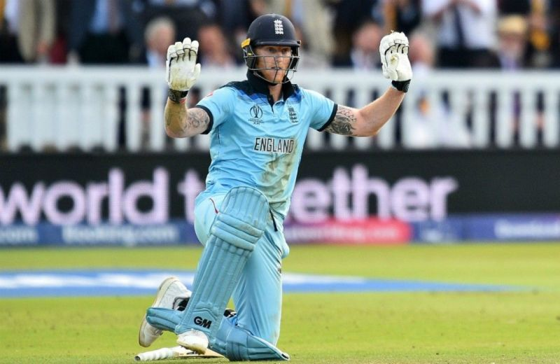 Ben Stokes apologises after he inadvertently deflected the ball to the boundary.
