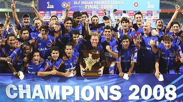 Rajasthan Royals pose with 2008 IPL trophy.