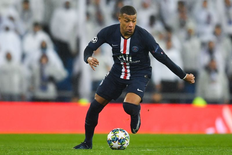 Kylian Mbappe during a UEFA Champions League game against Real Madrid