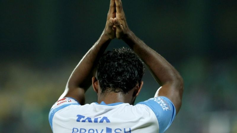 CK Vineeth after scoring against Kerala Blasters