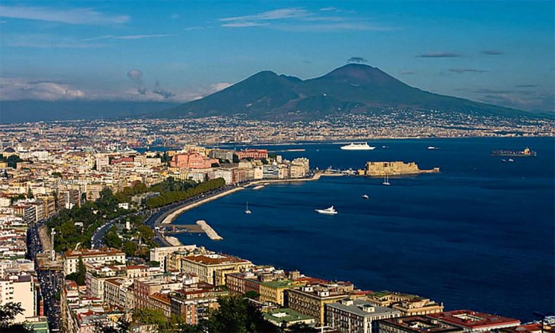 The Gulf of Naples with Mount Vesuvius in the backdrop