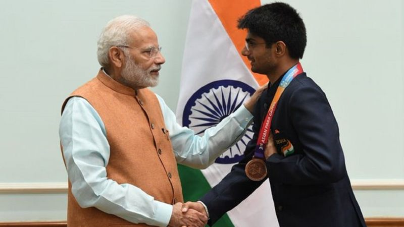 Being congraulated by Narendra Modi