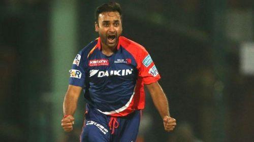 Amit Mishra celebrates a wicket