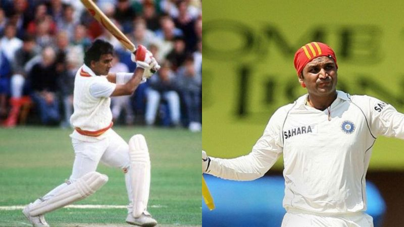 Sunil Gavaskar (left) and Virender Sehwag (right) are two of India