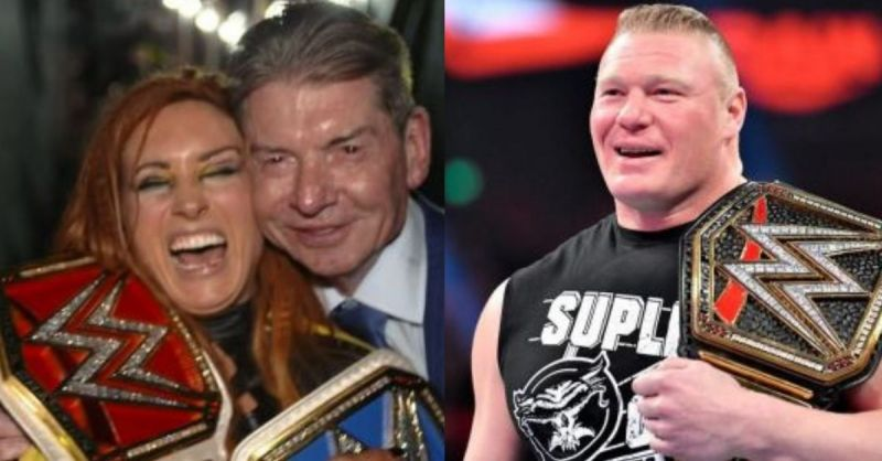 Becky Lynch and Vince McMahon; Brock Lesnar