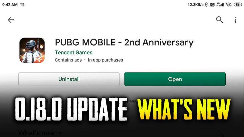 PUBG Mobile update 0.18.0